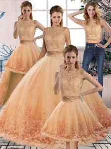 Gold and Peach Scalloped Neckline Lace Quince Ball Gowns Sleeveless Backless