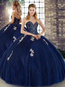 Navy Blue Sweetheart Neckline Beading and Appliques Quinceanera Dresses Sleeveless Lace Up
