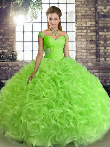 Glittering Sleeveless Floor Length Beading Lace Up 15th Birthday Dress
