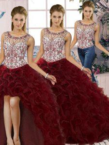 Noble Scoop Sleeveless 15 Quinceanera Dress Floor Length Beading and Ruffles Burgundy Organza
