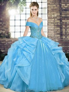 Stunning Baby Blue Organza Lace Up Off The Shoulder Sleeveless Floor Length 15th Birthday Dress Beading and Ruffles