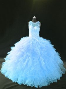 High Class Organza Sleeveless Quinceanera Dress and Appliques and Ruffles