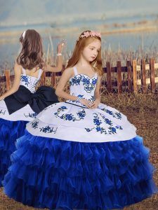 Exceptional Floor Length Royal Blue Little Girl Pageant Dress Organza Long Sleeves Embroidery and Ruffled Layers