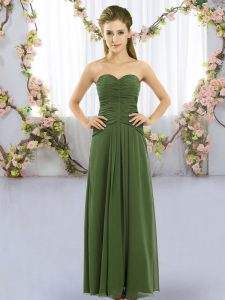 Dark Green Sleeveless Chiffon Lace Up Dama Dress for Quinceanera for Wedding Party