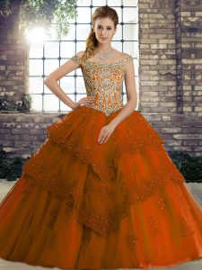 Smart Rust Red Ball Gowns Tulle Off The Shoulder Sleeveless Beading and Lace Lace Up Quinceanera Gown Brush Train