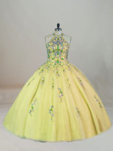 Yellow Sweet 16 Dresses Sweet 16 and Quinceanera with Appliques and Embroidery Halter Top Sleeveless Brush Train Lace Up