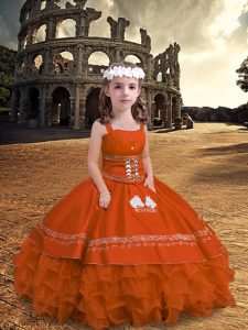 Orange Red Straps Neckline Embroidery and Ruffled Layers Pageant Dress for Girls Sleeveless Zipper