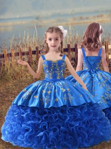 Fashion Blue Lace Up Straps Embroidery Kids Formal Wear Fabric With Rolling Flowers Sleeveless Sweep Train