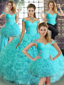 Unique Aqua Blue Sweet 16 Dresses Military Ball and Sweet 16 and Quinceanera with Beading Off The Shoulder Sleeveless Lace Up