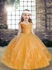 Most Popular Tulle Sleeveless Floor Length Kids Formal Wear and Beading and Hand Made Flower