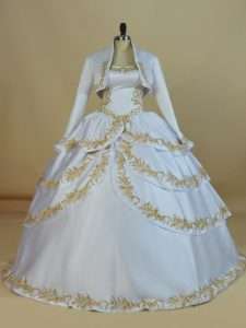 Satin Straps Sleeveless Lace Up Embroidery Ball Gown Prom Dress in White