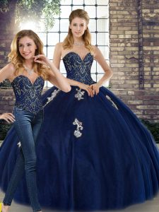 Designer Navy Blue Lace Up Quince Ball Gowns Beading and Appliques Sleeveless Floor Length