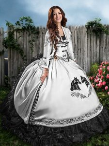 Nice White And Black Sweetheart Lace Up Embroidery and Ruffles Quinceanera Gown Sleeveless