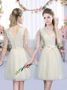 Decent Mini Length Empire Sleeveless Champagne Dama Dress for Quinceanera Lace Up