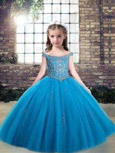 Floor Length Baby Blue Kids Formal Wear Off The Shoulder Sleeveless Lace Up