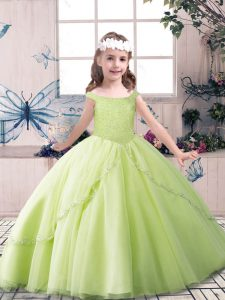Custom Made Yellow Green and Pink And White Off The Shoulder Neckline Beading Custom Made Pageant Dress Sleeveless Lace Up