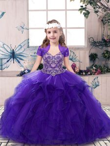 Purple Straps Neckline Beading Pageant Gowns Sleeveless Lace Up