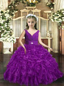 Latest Floor Length Eggplant Purple Little Girls Pageant Gowns Organza Sleeveless Ruffles