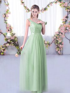 Shining Floor Length Apple Green Vestidos de Damas Tulle Sleeveless Lace and Belt