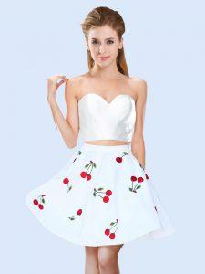 Nice White Lace Up Sweetheart Pattern Vestidos de Damas Satin Sleeveless