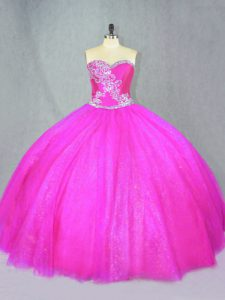 Fuchsia Ball Gowns Beading Sweet 16 Dresses Lace Up Tulle Sleeveless Floor Length