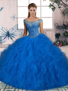 Ball Gowns Sleeveless Blue Sweet 16 Quinceanera Dress Lace Up