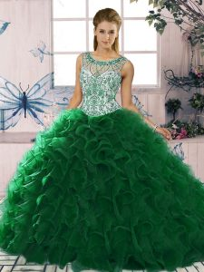 Elegant Sleeveless Floor Length Beading and Ruffles Lace Up Vestidos de Quinceanera with Dark Green