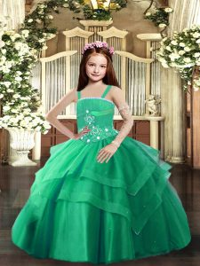 Turquoise Lace Up Straps Beading and Ruffled Layers Child Pageant Dress Tulle Sleeveless