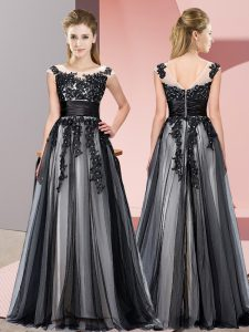 Hot Selling Black Scoop Zipper Beading and Lace Quinceanera Dama Dress Sleeveless