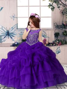 New Arrival Purple Zipper Girls Pageant Dresses Beading and Pick Ups Sleeveless Floor Length