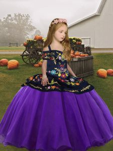 Best Straps Sleeveless Zipper Pageant Dress Toddler Eggplant Purple Organza
