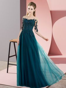 Nice Peacock Green Empire Chiffon Bateau Half Sleeves Beading and Lace Floor Length Lace Up Dama Dress