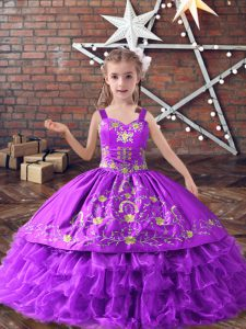 Lavender Satin and Organza Lace Up Little Girl Pageant Gowns Sleeveless Floor Length Embroidery and Ruffled Layers