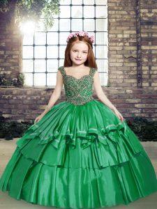 Dynamic Green Sleeveless Beading Floor Length Kids Formal Wear