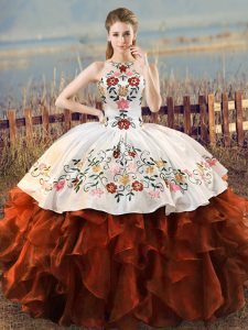 Charming Rust Red Organza Lace Up Quinceanera Dress Sleeveless Floor Length Embroidery and Ruffles