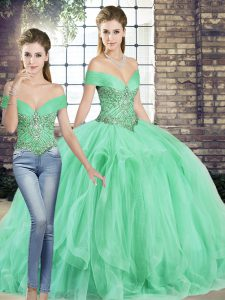 Modest Apple Green Quinceanera Gown Military Ball and Sweet 16 and Quinceanera with Beading and Ruffles Off The Shoulder Sleeveless Lace Up