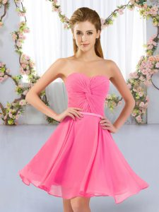 Sleeveless Chiffon Mini Length Lace Up Quinceanera Dama Dress in Rose Pink with Ruching