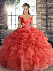 Excellent Orange Red Lace Up Quince Ball Gowns Beading and Ruffles and Pick Ups Sleeveless Floor Length