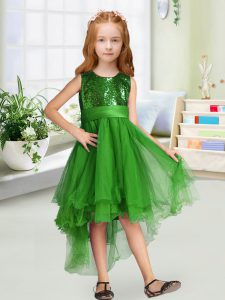 Green Organza Zipper Scoop Sleeveless High Low Pageant Gowns Sequins and Bowknot