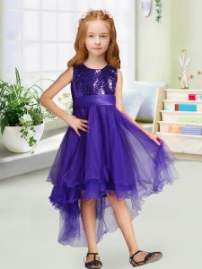 Purple Zipper Little Girl Pageant Gowns Sequins and Bowknot Sleeveless High Low