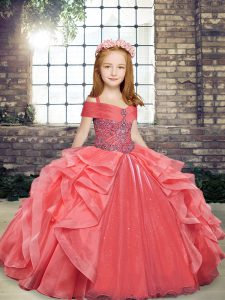 New Arrival Ball Gowns Kids Pageant Dress Coral Red Straps Organza Sleeveless Floor Length Lace Up