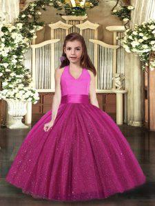 Fuchsia Sleeveless Ruching Floor Length Pageant Dress Toddler