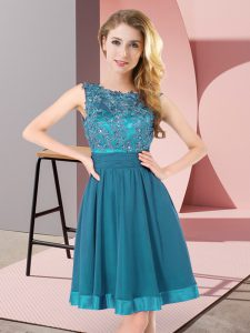 Teal Chiffon Backless Scoop Sleeveless Mini Length Dama Dress Beading and Appliques