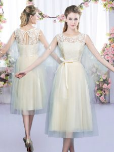 Champagne Damas Dress Wedding Party with Lace and Belt Scoop Sleeveless Lace Up