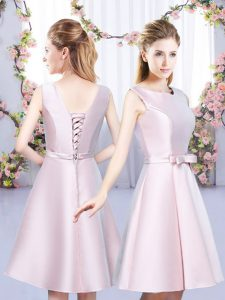 Simple A-line Court Dresses for Sweet 16 Baby Pink Scoop Satin Sleeveless Mini Length Lace Up