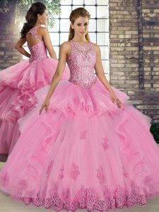 Rose Pink Ball Gowns Tulle Scoop Sleeveless Lace and Embroidery and Ruffles Floor Length Lace Up Ball Gown Prom Dress