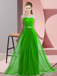 Colorful Sleeveless Floor Length Beading Lace Up Quinceanera Dama Dress with Green