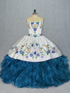 Shining Blue Lace Up Sweet 16 Dresses Embroidery and Ruffles Sleeveless