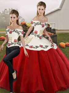 Chic Sleeveless Lace Up Floor Length Embroidery 15th Birthday Dress