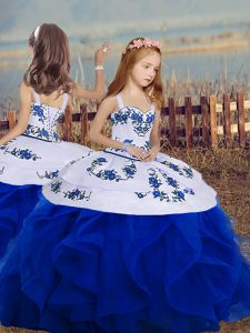 Royal Blue Straps Neckline Embroidery and Ruffles Little Girls Pageant Dress Wholesale Sleeveless Backless